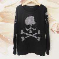Luxury sparkling diamond ultralarge skull rhinestones loose t-shirt sweatshirt fashion long-sleeve pullover sweatshirt t-shirt