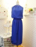 Both sides placketing handmade organza chiffon halter-neck long design one-piece dress