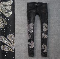 Butterfly sparkling diamond wings rhinestones black elastic slim skinny jeans female