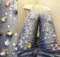 Handmade oversized sparkling diamond rhinestones elastic slim skinny jeans female