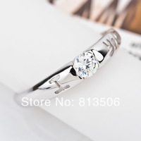 GNJ0171 High quality Wholesale Fashion 925 sterling silver ring white zircon I LOVE YOU for women Free shipping