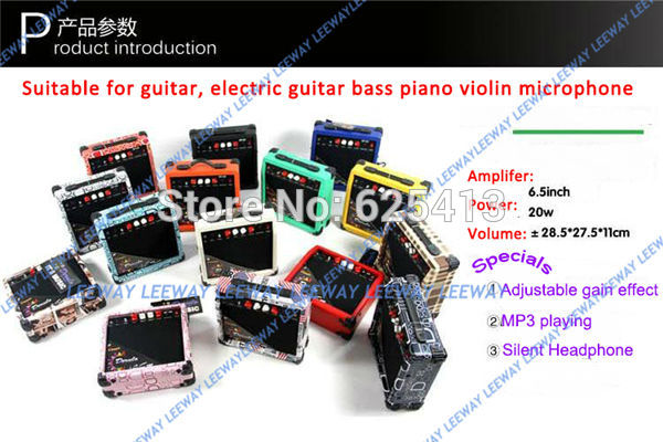 EMS Free Shipping 20w 15 color 4kg mini electric guitar amplifier bass guitar amplifier tube for piano violin microphone(China (Mainland))