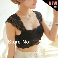 2014 Spring Sexy Lace Crop Top Pad Hollow-out Lace Soft Vest Bra for Women Built in Bra bustier Loose Tank Tops womens vest tops