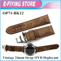 Free shipping Assolutamente Vintage Brown 24mm Watch Band Strap Bracelet Belt With Deployment For Panerai Watch