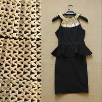 2014 summer women's three-dimensional gold halter-neck smallerone sexy slim hip slim one-piece dress