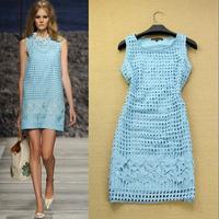 Fashion summer high quality women's hydrotropic 2014 flowers slim elegant small one-piece dress