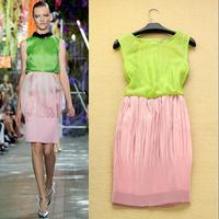 Fashion 2014 summer sweet elegant color block pleated decoration slim tank dress elegant one-piece dress
