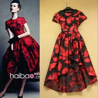 2014 fashion dress exquisite elegant red slim elegant dovetail one-piece dress