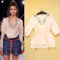 Fashion elegant 2014 gentlewomen silk floss embroidery beading shirt plus size comfortable women's shirt