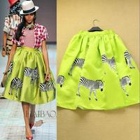 Fashion small 2014 fresh green print slim pleated bust skirt half-skirt