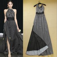 2014 summer fashion polka dot print halter-neck placketing full dress elegant sexy one-piece dress