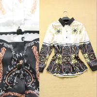 Fashion spring and summer 2014 women's color block decoration elegant shirt fashion all-match women's shirt top