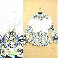 2014 fashion digital print slim female career shirt elegant women's shirt