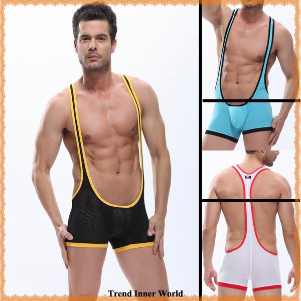 Sexy men's suspender breathable mesh wrestling singlet underwear S M L ...