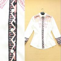 Fashion high quality women's 2014 spring and summer vintage print long-sleeve white female shirt fashion shirt