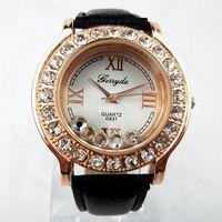 2014 New Fashion Casual Crystal Dress Wristwatches for Elegant Women Ladies Leather Band Rhinestone Casual Quartz Watches Black