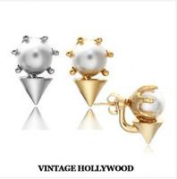 K-476 Women New Fashion Spring 2014 Retro Punk Style Rivet Sharp Angle Pearl Two Uses Stud Earrings