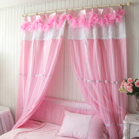 Beauty Dream curtain Bed room/living romm pink feather interspersion dodechedron lace yarn double layer light shading  curtain