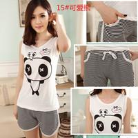 Summer sleeveless sleepwear set casual lovers sleepwear cotton vest shorts lounge