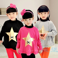 Children with leisure long-sleeved T-shirt cotton shirt render batwing coat of the girls
