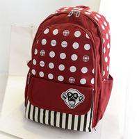 Designer Brand Monkey Backpack male female Casual knapsack school laptop backpack cute polka dot canvas backpack bag KB-003