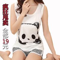 Women's lovers summer cotton sleep set lounge short-sleeve cartoon sleepwear shorts