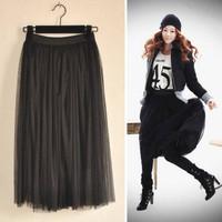 free shipping 1231new arrival all-match long design lace gauze women fashion long skirt