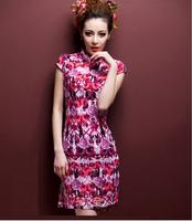 2014 Chinese women Slim Knee-Length Flower Printed Cheongsam  short sleeve cotton linen qipao dress,20 styles,Free Shipping