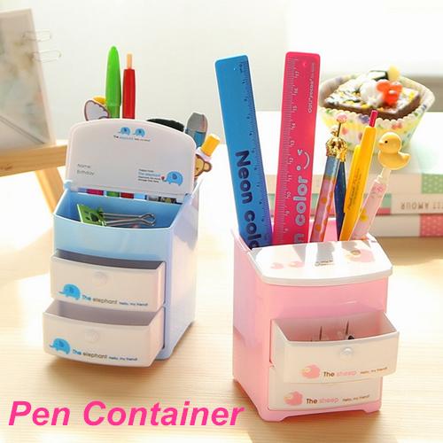 Mini plastic pen holder two layer drawer pencil holder - Cute desk accessories and organizers ...