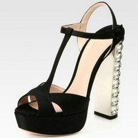 Thick heel rhinestone T belt cutout sandals women's shoes high-heeled shoes