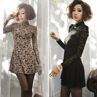 New 2014 Spring Fashion Women Clothing Long Sleeve Turtleneck Flower Lace Bodycon Peplum Party Club Skater Mini Dress 0797
