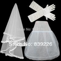 W-5.1  Arrival Cheap 3 Pieces Set Wedding Bridal Gown Dress Petticoat Underskirt +Gloves+Veils Crinoline Wedding Accessories