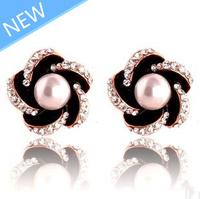 Free shipping 2014 new fashion jewelry earrings enemal  crystal plum flower stud earrings pearl vintage earrings 1 pair/lot