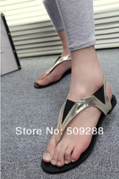 summer Coat of paint elastic Stitching colours Joker flat sandals   female sandals