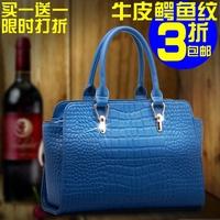 2014 European and American Fashion New Women Leather Crocodile Pattern Shoulder Messenger Bag 0316E