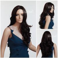 "25"" Free Shipping New beautiful sexy no bangs dark brown long wavy synthetic hair women's full wig"