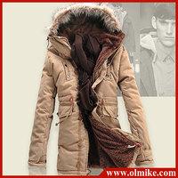 2014 Tops Men's fur collar hoody jacket winter hooded Jackets, Medium-long fleece Coats mens Winter parka High quality S-XXXL