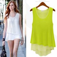 2014 Summer New Arrival Loose Female Sleeveless Shirt Top Chiffon Shirt White Blue Lemon Yellow Color S-XL Size