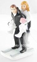2014 New  Free Shipping Winter Skiing Wedding Resin Figurine Wedding Cake Topper
