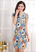 New 2014 Women's One-Piece Summer Dress Plus Size Milk Silk  Floral Print Dresses Mother Dresses 20 Colors