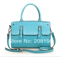 2014 Spring new issue all cowhide leather candy colors fashion handbag hot sale mid-size woman messenger bag 0463 Free Shipping