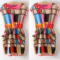 Hotsale New Womens Chic Colorful Geometric Pattern Sleeveless Mini Dress Round Neck Dress