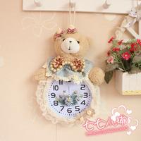 Cartoon bear plaid the loggerhead alarm clock quieten pendulum clock wall clock lounged bedside alarm clock