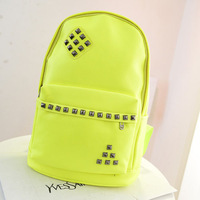 Free shipping Fluorescent color rivet PU leather backpack women fashion hiking backpacks school bags for teenagers KB-004