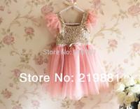 NEW ! 2015 summer girl sequins tutu dress , girl dress princess , 5pcs/lot
