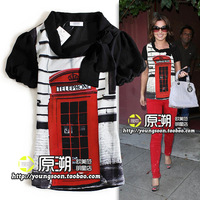 British style telephone booth pattern heap turtleneck fashion silks and satins patchwork short-sleeve shirt