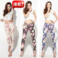 Spring 2014 new arrival flower print women denim jeans,mid-waist ladies pencil pants,fashion slim show thin women's clothing