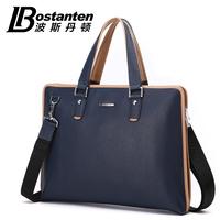 Bostanten men commercial handbags genuine leather messenger bag hard business shoulder solid bags