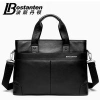 Bostanten best soft commercial handbags genuine leather bags for men shoulder messenger bags