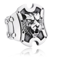 Lion Shield A titanium steel ring